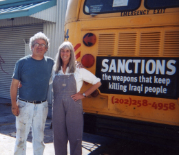 "Alliance Graphics Artist Jos Sances and Barbara Lubin with the ""Remembering Omran"" bus"