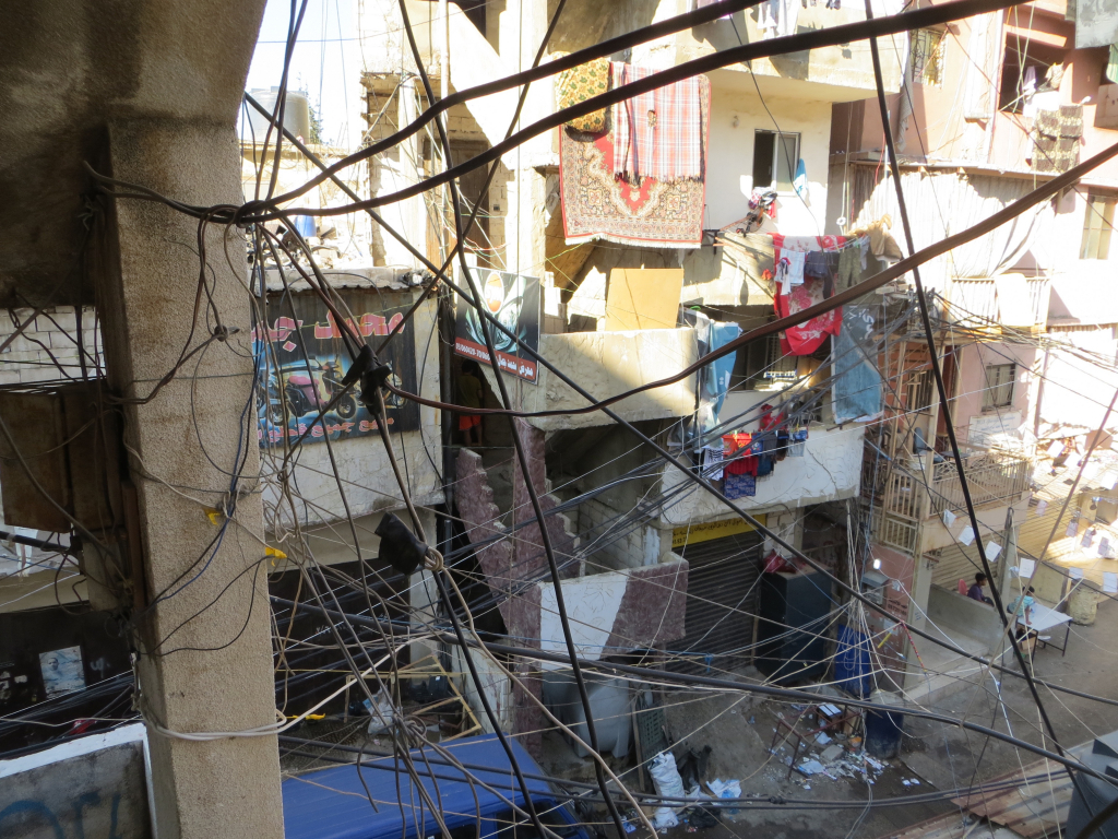 Electrical wires in Shatila camp