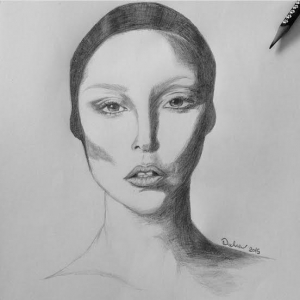 Woman's portrait in pencil by Dalia