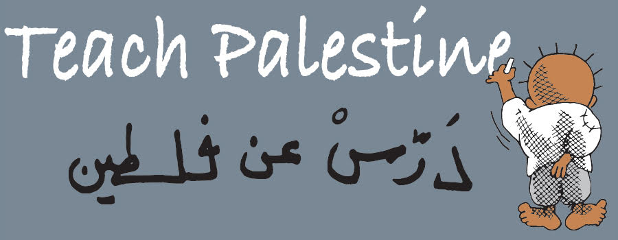 Handala writes Teach Palestine on blackboard in English and Arabic