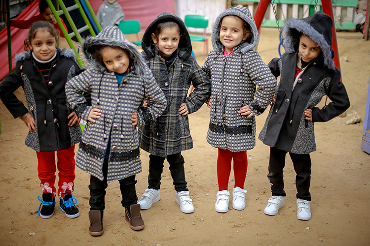 Children in Gaza with Warm Winter Clothing