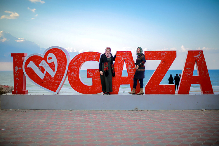 I love Gaza Sculpture with two MECA staff members
